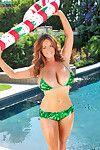 Boobsy Sarah Randall pulls off her holiday-themed bikini