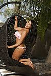 Damp latin chico lass Bunnie Brook revealing her fabulous melons outdoor