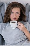 Sweet Euro teen Eliav stretches long legs to air out shaved snatch