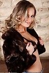 Rounded blonde babe Lenka Janistinova stripping naked for bald cunt exposure