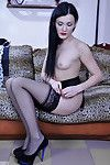 Extreme cutie lovingly puts on barely black lacy nylons with a classy garter