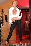 Rachel Aziani strips from her tight jeans and leather jacket, exposing her hot body.