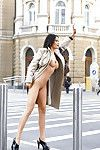 Big busted brunette queen Michaela Grauke stripping in public places