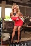 Rachel Aziani looking super sexy in her red dress, lifts it up and masturbates with a vibrator.