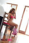 Jodie gets undressed from her tight fitting pink jeans to full nude. A fun and hawt shoot.