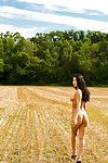 Graceful babe Dani Dior stripping off her clad outdoor