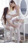 Lesbian lingerie tease