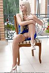 Acrobatic Euro blonde Alysha A exhibits naked cum-hole and sleek legs