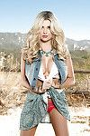 Centerfold exhibit Sarah Louise Harris stripping off cowgirl outfit outdoors