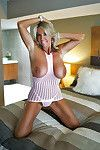 Blonde housewife Sandra Otterson unveiling weighty mature tits for babe pics