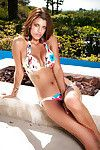 Appealing dark brown Amber Alexandria lovely off her bikini outdoor