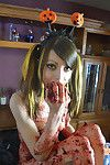 Beautiful teen halloween caking mess
