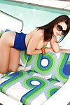 Hot babe in bikini Bethanie Badertscher erotic dance and having fun in the pool