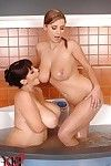 Busty lesbians playing with big boobs in the shower