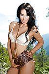 Brown hair centerfold lass Alyssa Bennett unveils colossal tits outdoors