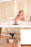 Stocking and glasses clothes babe Phoenix Marie flaunting MILF ass in office