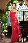 Milf with high heels Yesenia Bustillo takes off her red dress