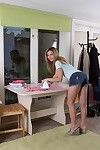 Melisa strips from jean shorts to masturbate