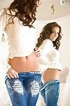 Playful babe in blue jeans Hillary Fisher uncovering her amazingly wild curves