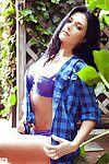 Bosomy brunette babe with clammy fanny Elena Romanova posing barely clothed