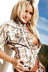 Adorable blonde babe Heather Jo Hughes exposing her hot body outdoor