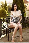 Teen babe revealing vast all natural melons and toned waste outdoors