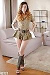 Military uniform attired babe Misha Cross undressing to spread smooth vagina