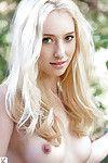 Slim blonde babe Lauren Ash taking off her underware outdoor