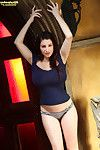 Rounded September Carrino swells out her tight blue top