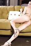 Centerfold babe Morgan Hovanek flaunting big pornstar tits in high heels