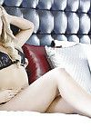 Blond cutie with sensible boobs Ashley Zeitler stripping on the bed