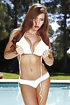 Buxom centerfold babe Madison Ivy posing outdoors in sunglasses and bikini