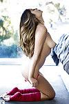 Stunning babe with slender legs Jackie Dawn uncovering her graceful curves