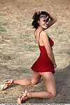 Brunette juvenile Emanuel A loosing ready young girl breasts from dress outside