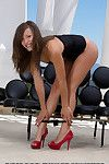 Extreme glamour illustration Malena Morgan rolling removing underwear from nice ass