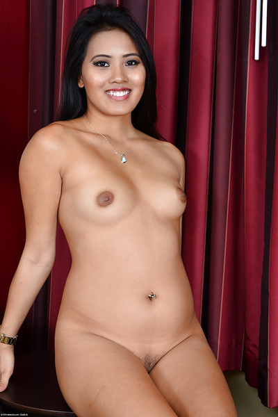 Black-haired Chinese infant exhibit Addison Avery takes off her underware