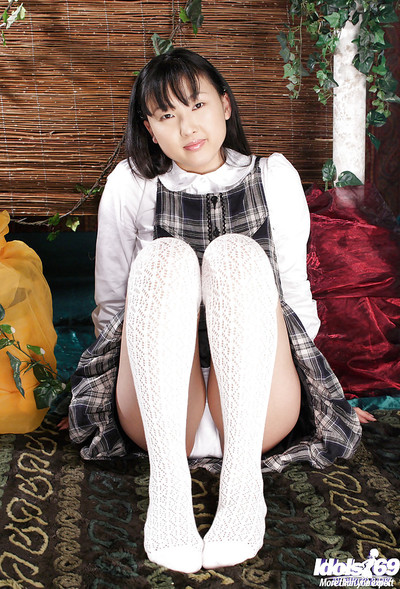 Oriental cutie Youko Sasaoka revealing her clever fanny and beautiful smooth head love-cage