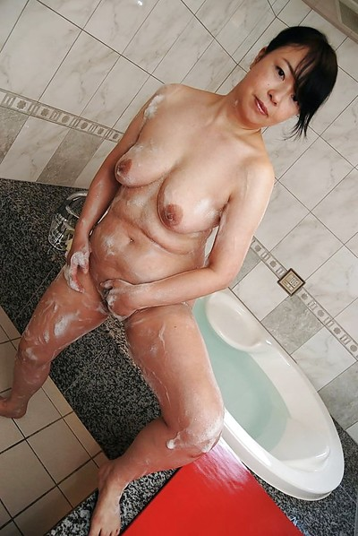 Bulky Japanese MILF with wavy wet crack Norie Shibamura voluptuous shower and shower