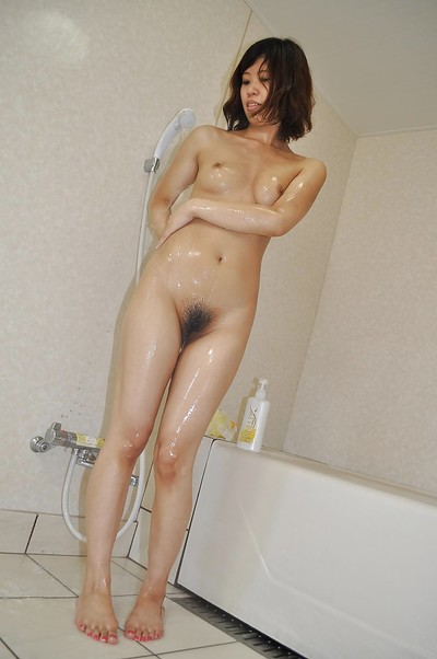 Slippy Chinese youthful with unshaved cage of love Chie Ishida delightsome bathroom
