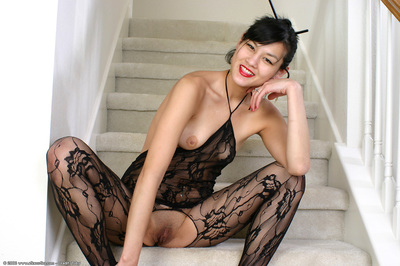 Eastern young Whitney amplifying hairless gentile in crotchless bodystocking