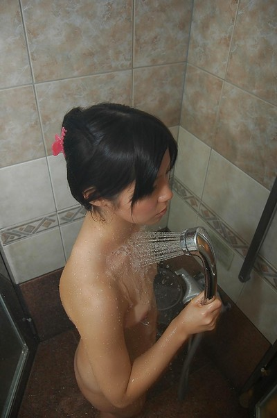 Chinese adolescent with compact scoops and nice fanny Ami Nagashima captivating shower-room