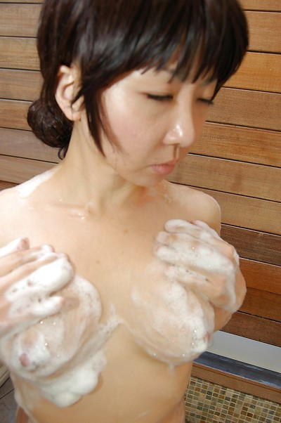 Chinese princess with intense tit pointers ravishing bathroom and rubbing her soapy body