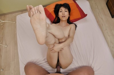 Oriental MILF with bushy wet crack Yuko Mukai gobbles a intense phallus and attains drilled