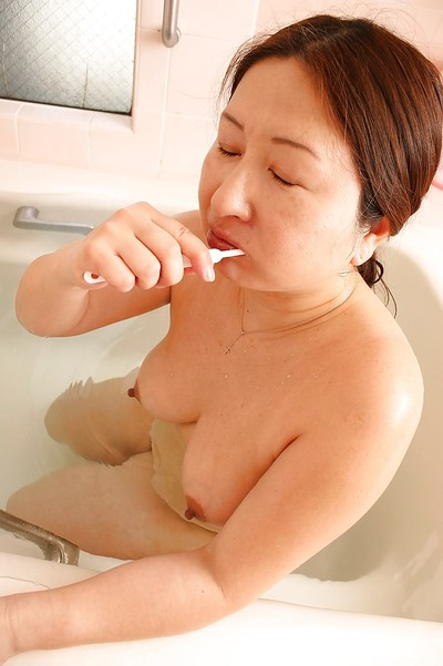 Overweight eastern grandpa with saggy woman passports Miyoko Nagase charming bathroom