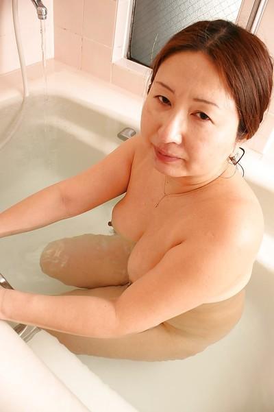 Overweight eastern grandpa with saggy woman passports Miyoko Nagase charming bathroom