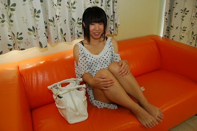 Shy Japanese infant with slim bends undressing and vibing her love-cage