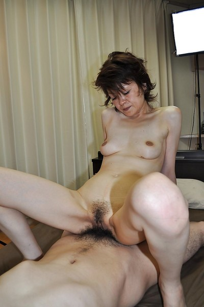 Japanese lady gives a fellatio with  pouch licking and attains her  love-cage nailed