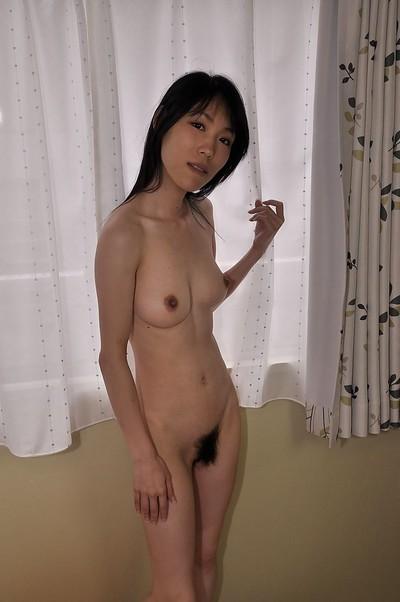 Slippy eastern MILF Yuko Mukai erotic dancing down and toying her curly gash