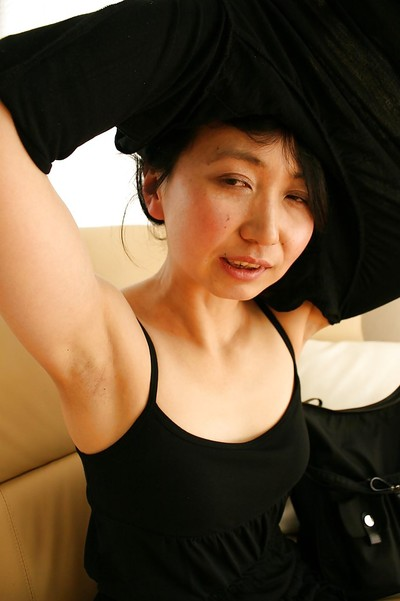 Shy oriental MILF in hose Junko Konno getting rid of her garments