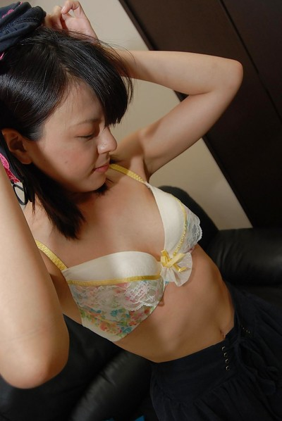 Merry Chinese juvenile Miki Kamisaka gradually striptease off her clothing